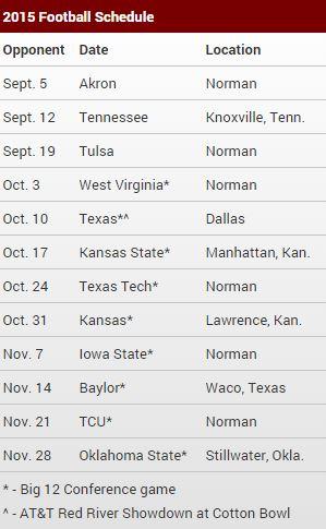 Sooners 2015 schedule
